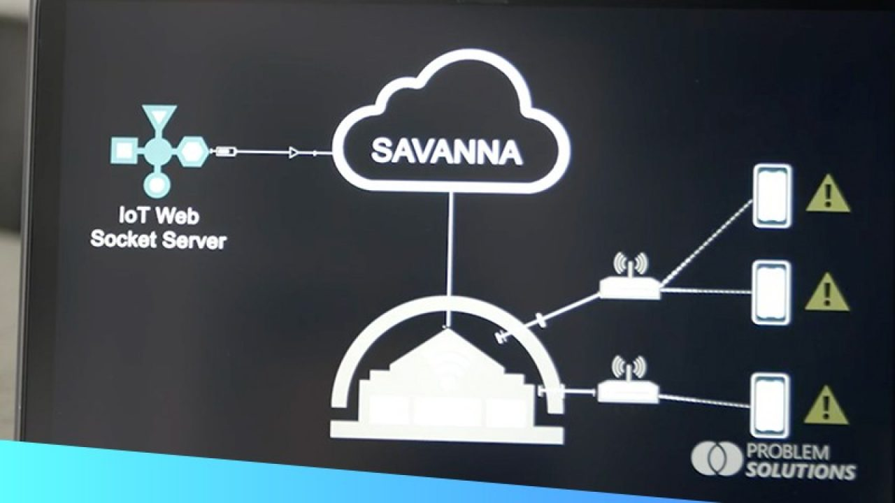 A snapshot of the IoT solution framework created by Problem Solutions using the cloud\u002Dbased Zebra Savanna platform