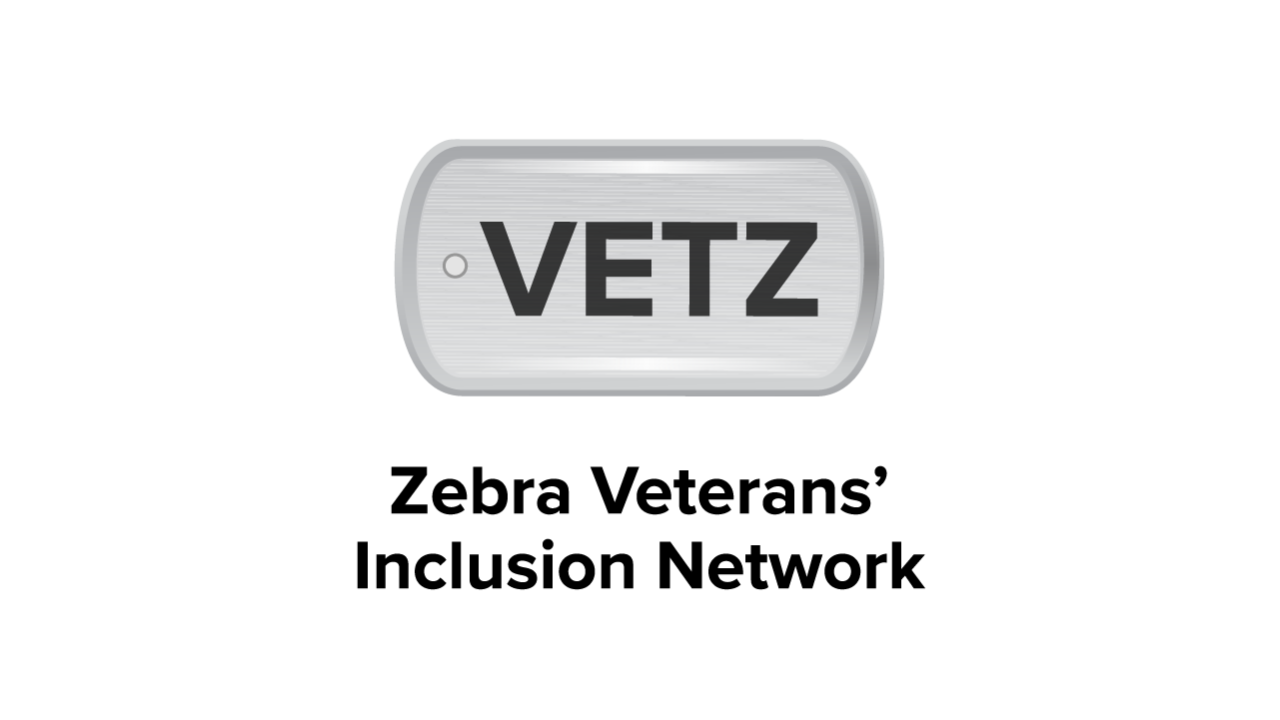 A dog tag that says \x26#34;VETZ.\x26#34; Underneath, Zebra Veterans` Inclusion Network.