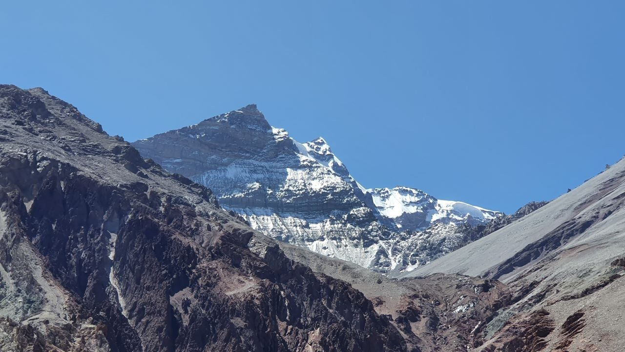 Looking back at Mount Aconcagua`s peak