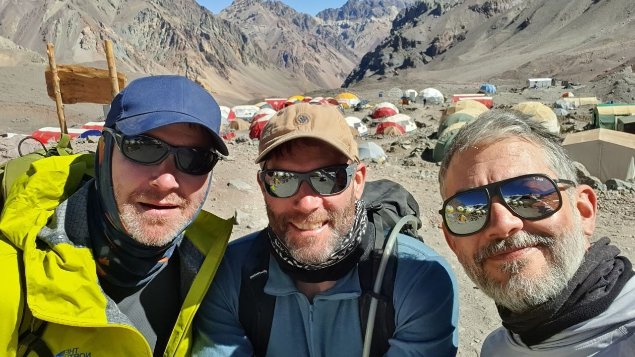 Zebra`s \x26#34;Three Amigos\x26#34; smiling after reaching base camp on the descent from Mount Aconcagua in February 2020