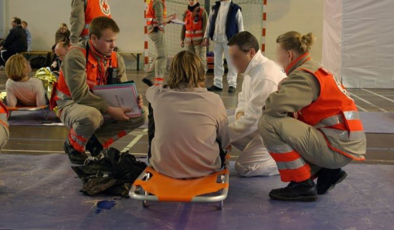 French Red Cross first responders triage a patient
