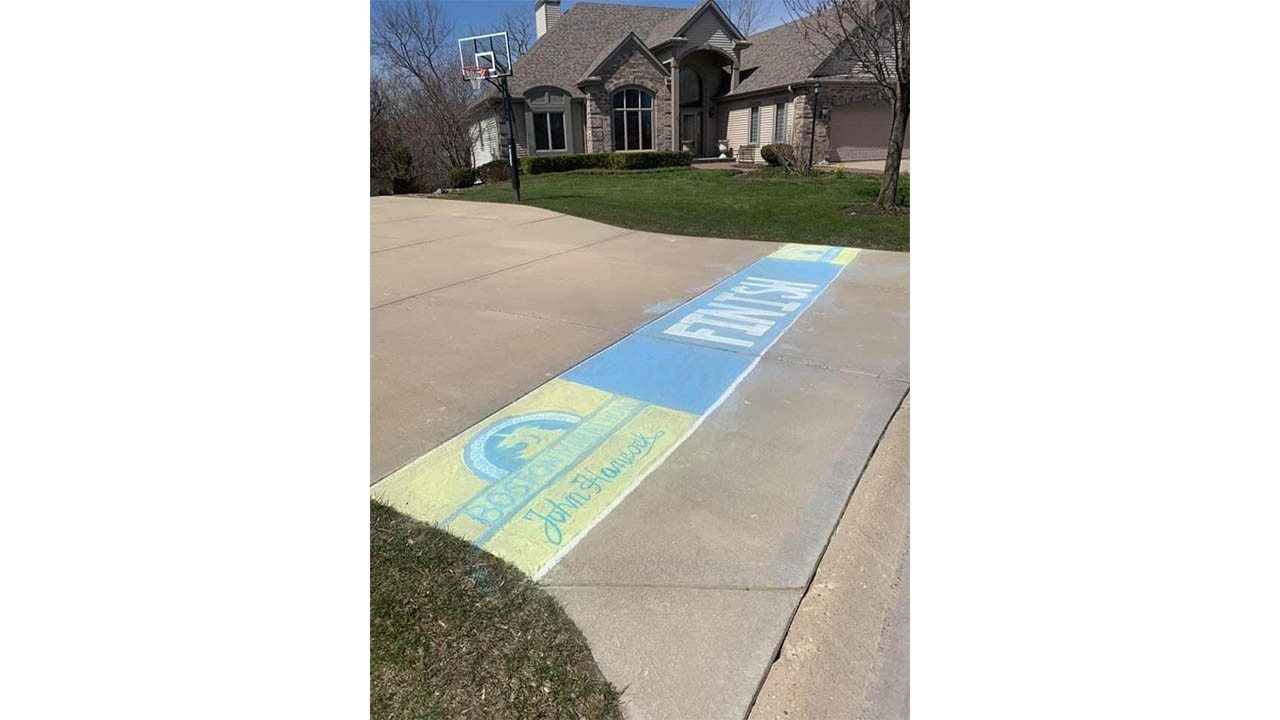 The finish line across Joe Zons` driveway