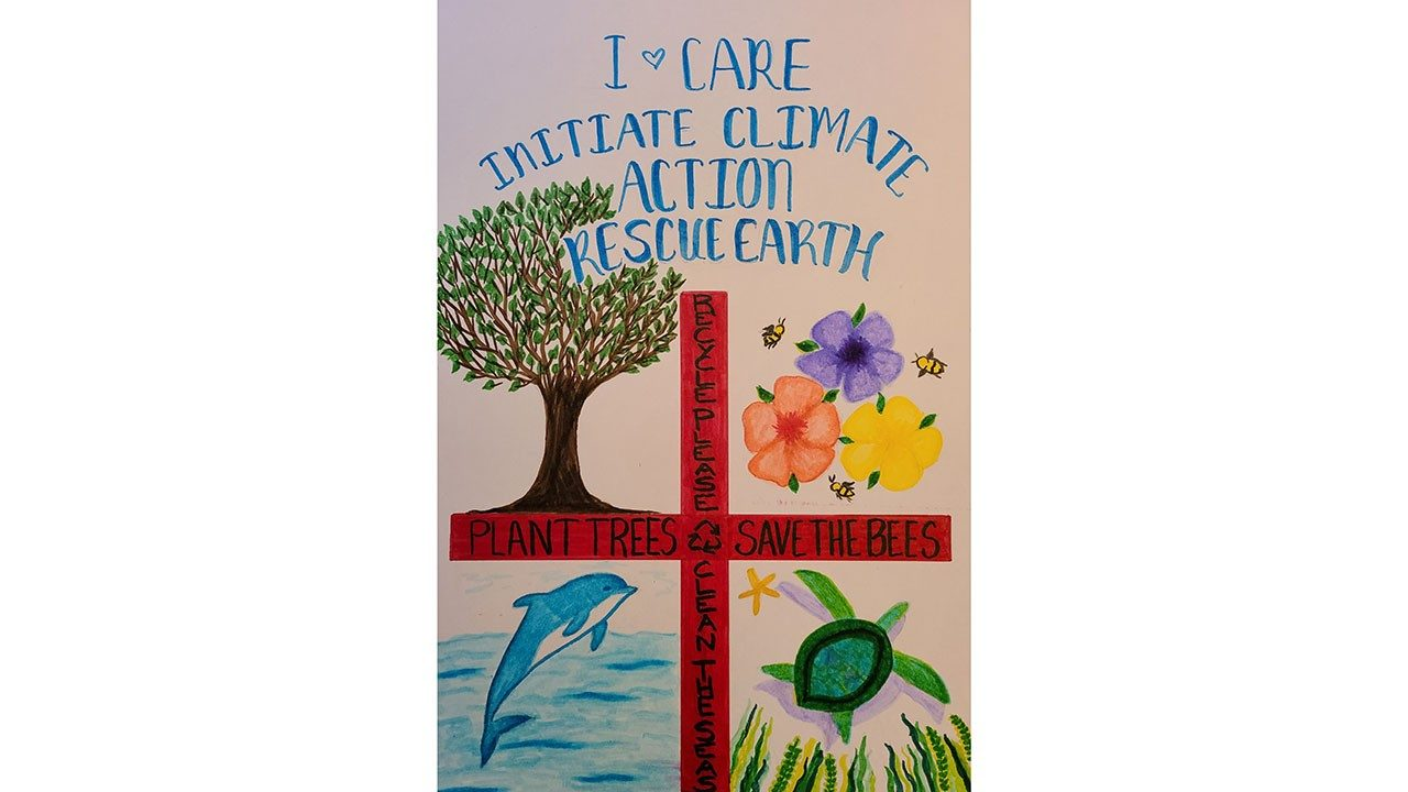 One of the winning posters in Zebra`s 2020 Earth Day Climate Action poster contest, created by Carolyn Tinsman