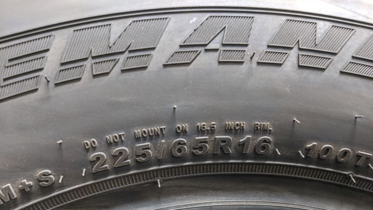A picture of a tire`s rating specifications