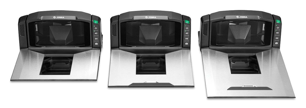 Front view of the counter portion of the three sizes of the Zebra MP7000 Grocery Scanner Scale