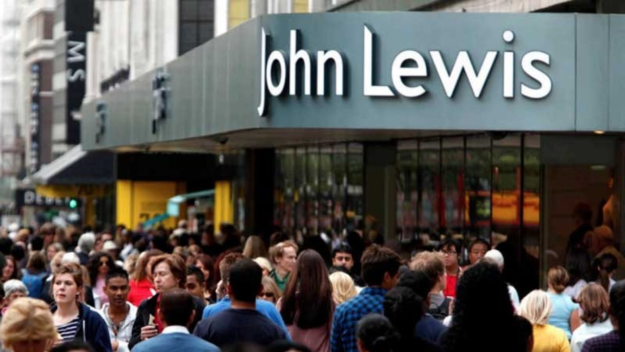 Crowded street outside John Lewis store