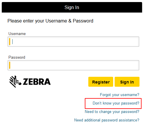 Change password area of login screen