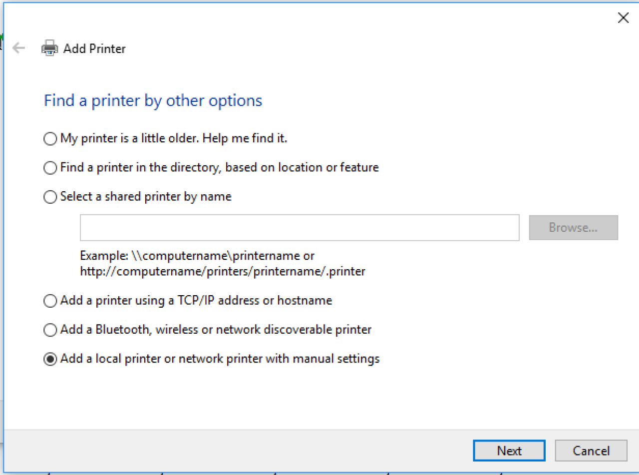 Find a printer by other options screen