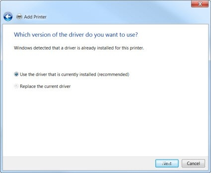 Use the driver that is currently installed screen capture