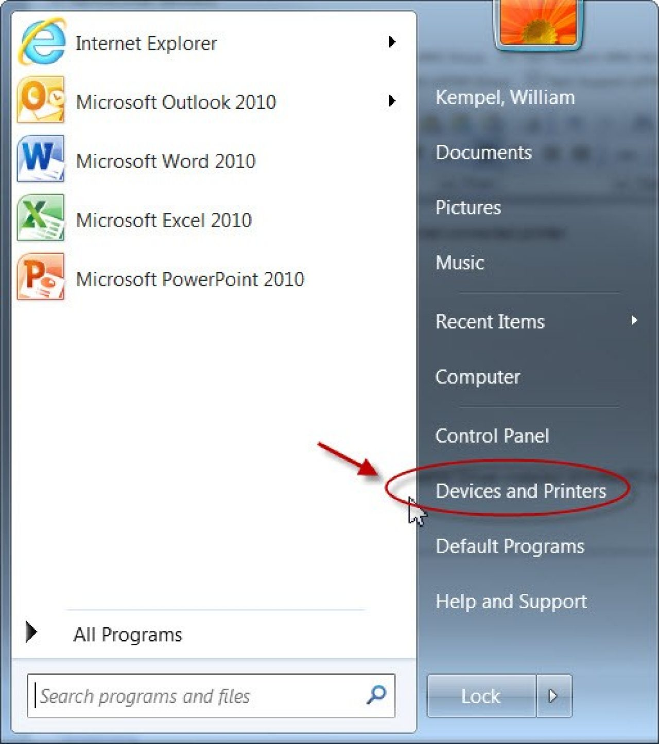 Select Devices and Printers screen capture