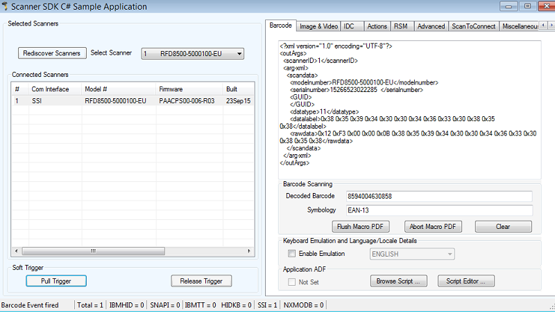 RFD8500 SSI over Bluetooth to use the scanner Windows SDK