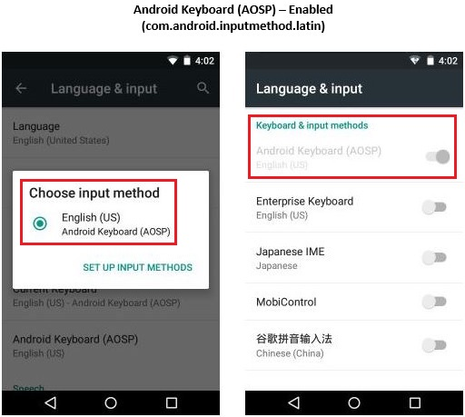 Disable Android Keyboard (AOSP) using StageNow Tool | Zebra