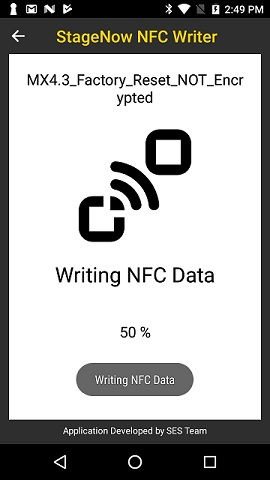 Writing the BIN file generated from StageNow unto an NFC tag (ISO