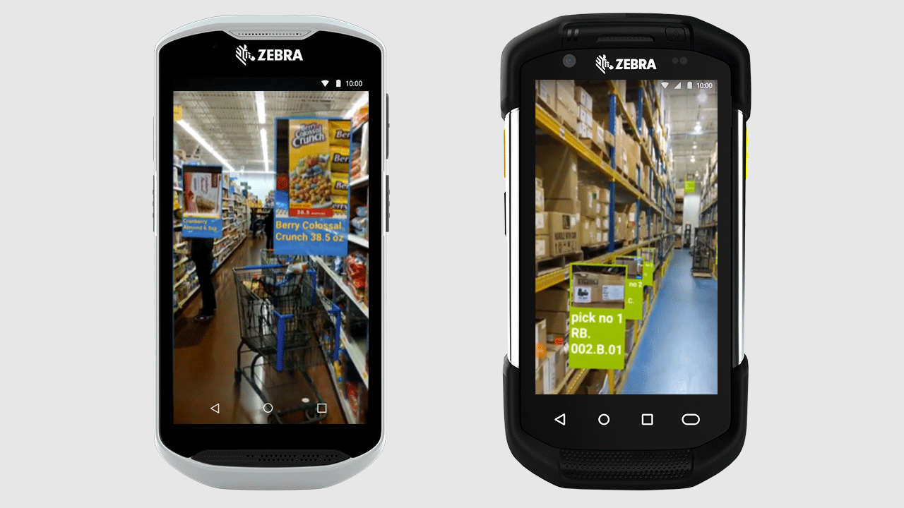 Two screenshots of what a retail worker may see when using an augmented reality application on Zebra\x26#39;s ARCore\u002Dcertified mobile computers.