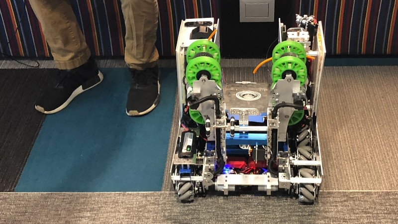One of the robots created by the FIRST Robotics team that is mentored by Zebra engineers