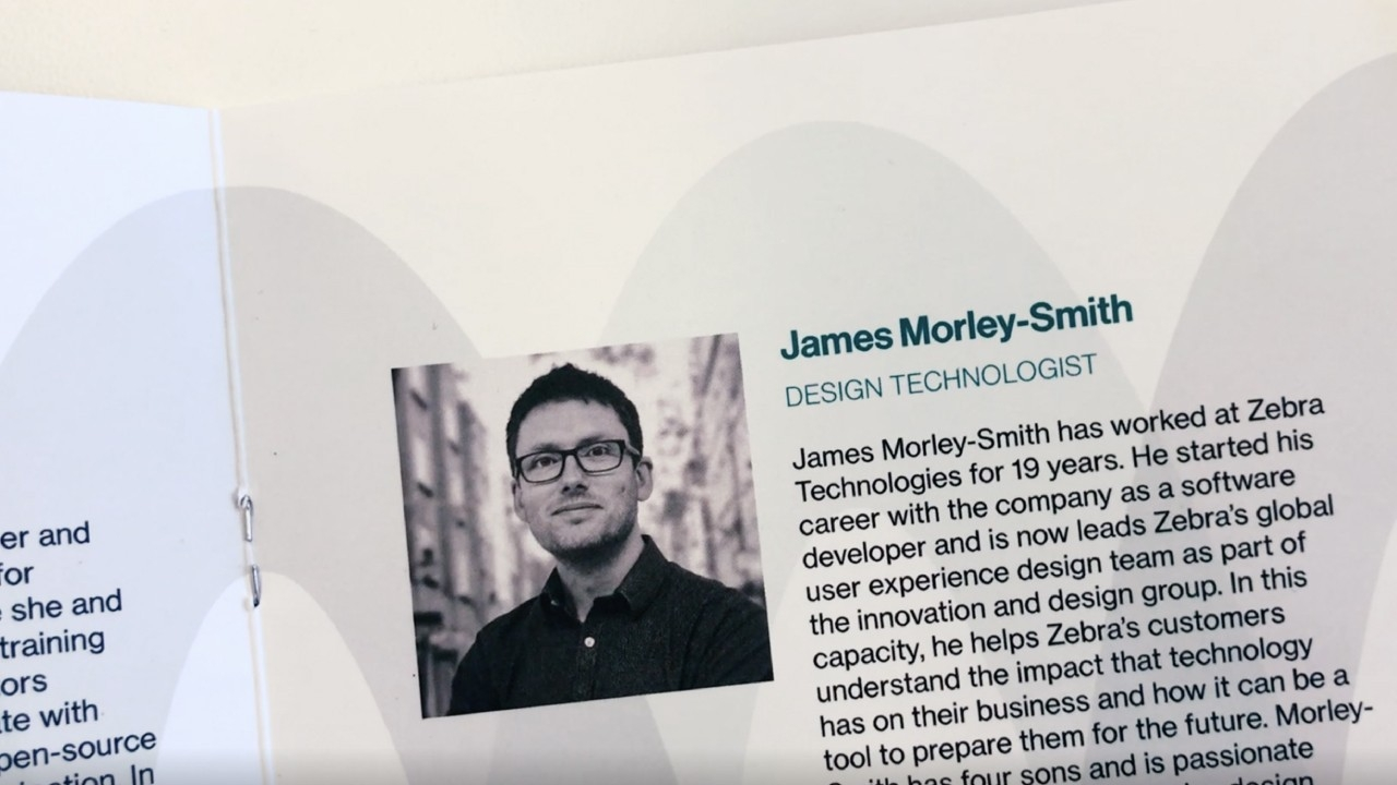 A snapshot of James Morley\u002DSmith\x26#39;s presenter bio in the TED Talk program book