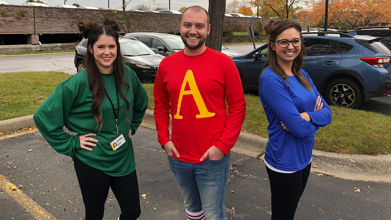 Zebra employees Kyle Thorstenson (IT), Lauren Coco and Courtney Bragg (both HR) dressed up as Alvin and the Chipmunks at work on Halloween 2018.