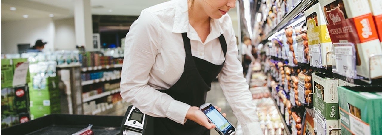 Checking inventory with Zebra handheld mobile computer