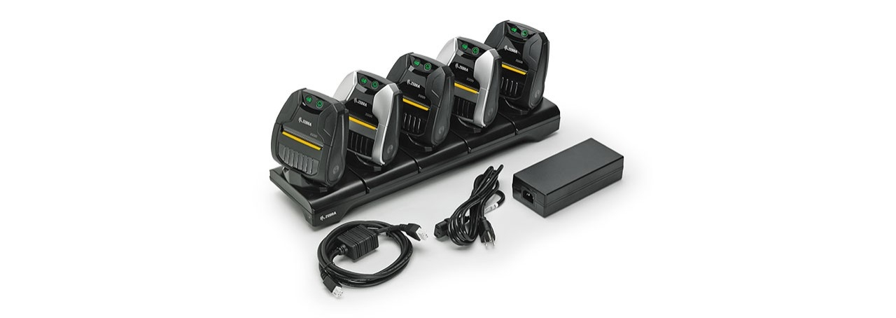 Image of ZQ320 indoor and outdoor mobile printers in charging dock
