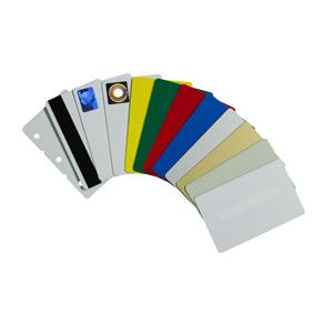 An assortment of Zebra Card Printer cards