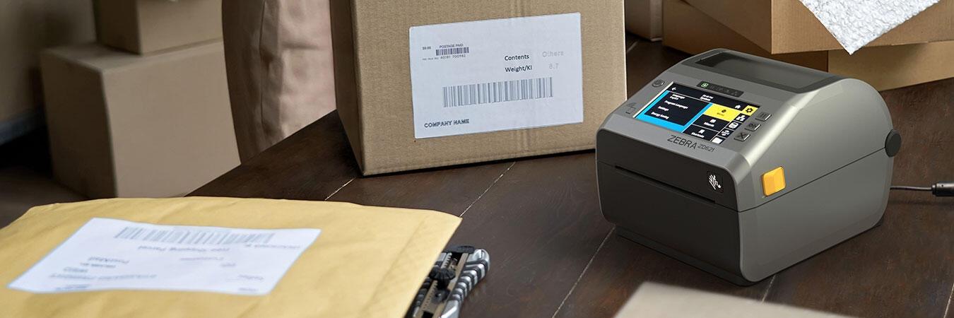 在工作台上打印标签的 ZD620