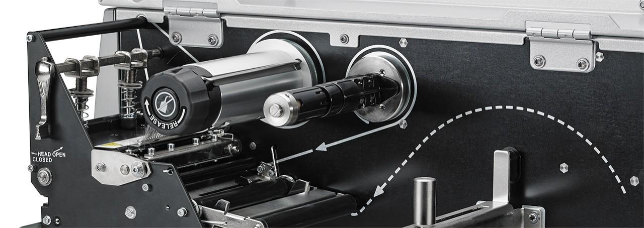 Zebra ZT510 工业打印机加载区特写