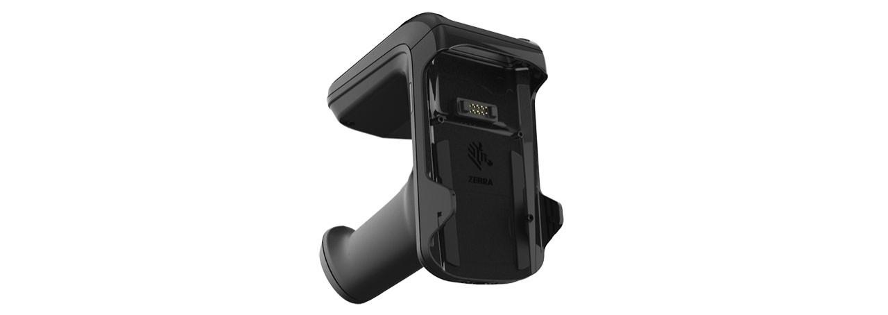 Dessus du pistolet de support Zebra RFD2000 UHF RFID montrant le connecteur à huit broches du TC20