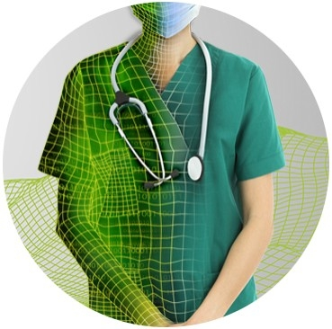Woman in scrubs with face mask and stethoscope