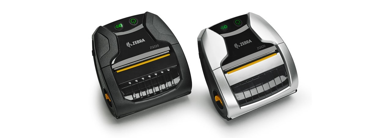 View of black and silver ZQ320 Series mobile printers