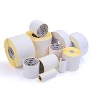 A roll of Zebra barcode labels