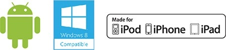 Logo Android, logo Windows, logo iPhone\/iPad\/iPod