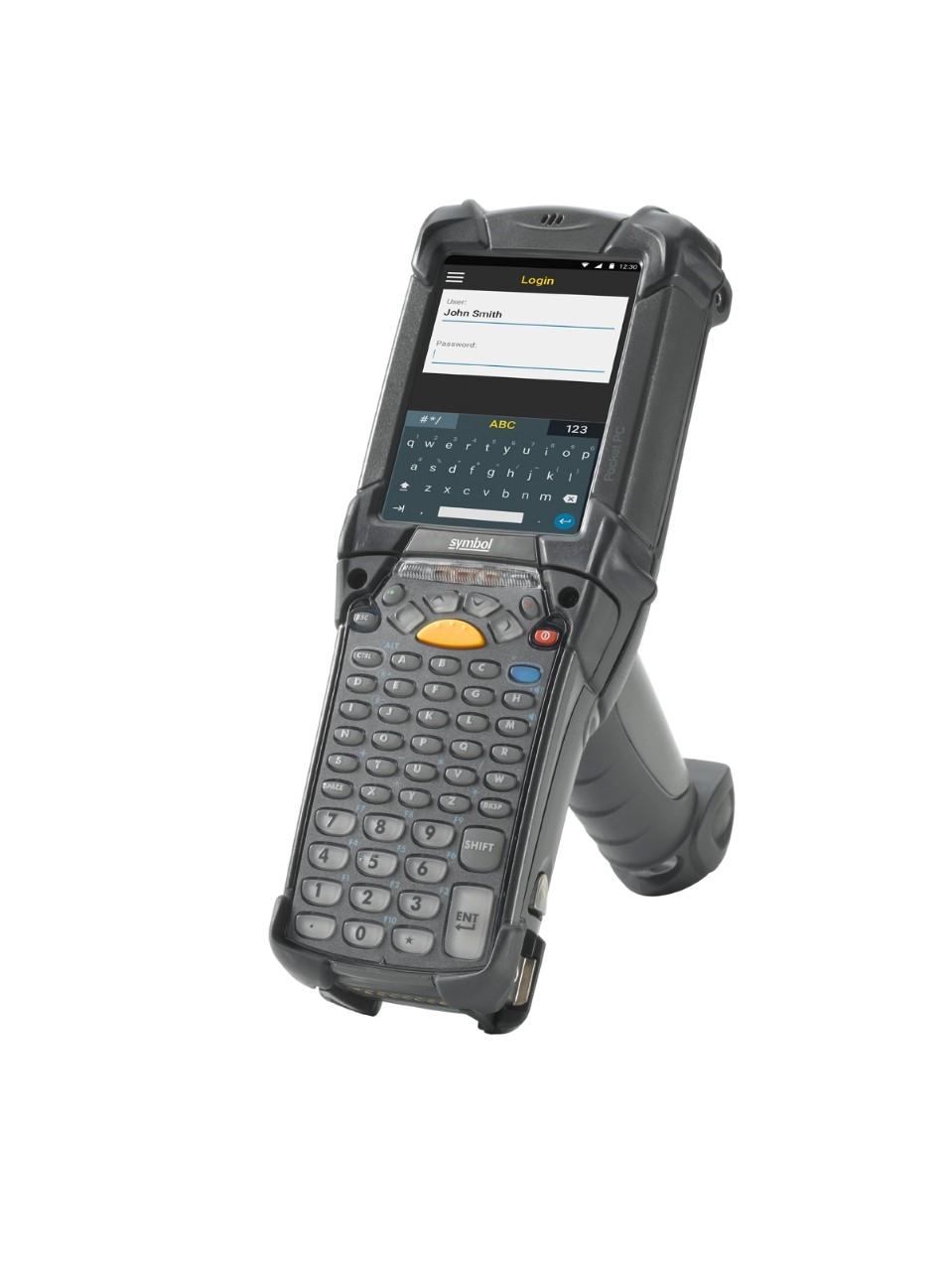 Vista lateral izquierda de la computadora móvilMC9200 Android de Zebra