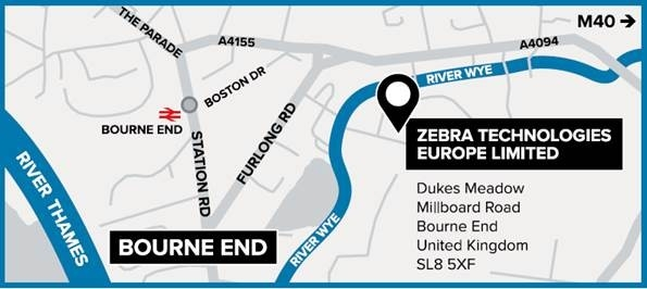Map to Zebra Experience Center in Bourne End, UK