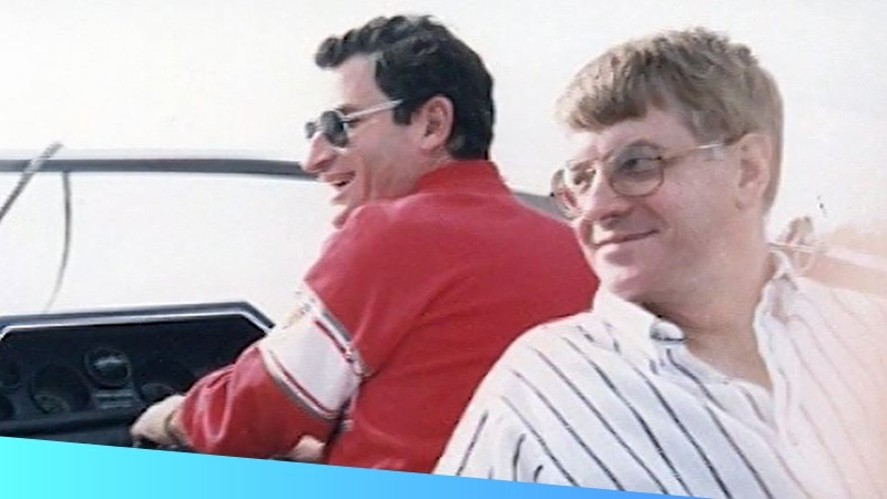 Ed Kaplan and Gary Cless, co\u002Dfounders of Zebra Technologies in a speedboat