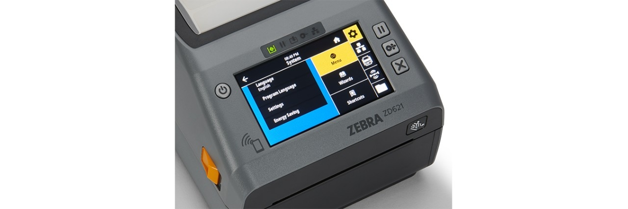Zebra ZD620D Desktop Printer with attached power supply