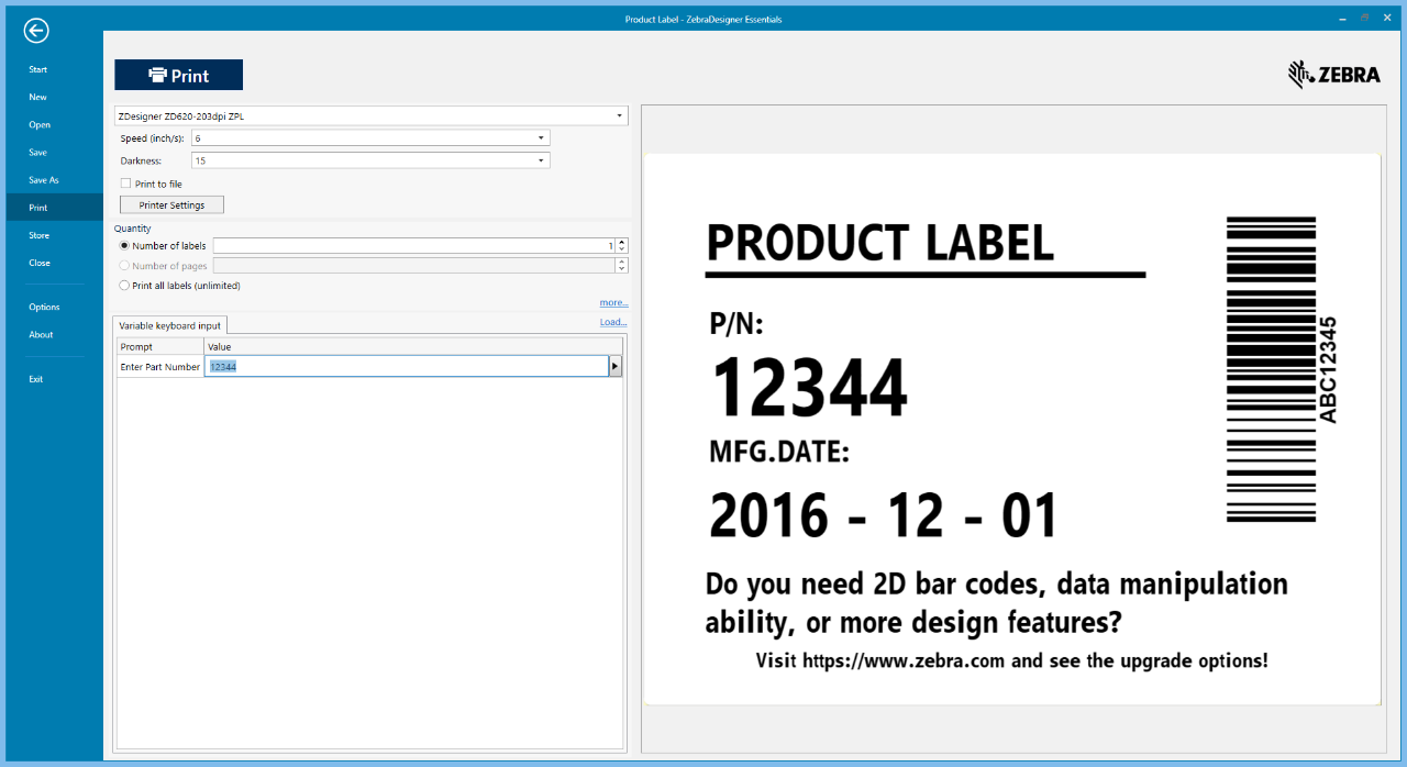 product label \u002D zebradesigner essentials printing software page