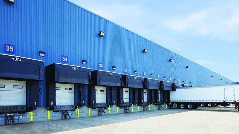 Transportation Truck loading Dock and warehouse