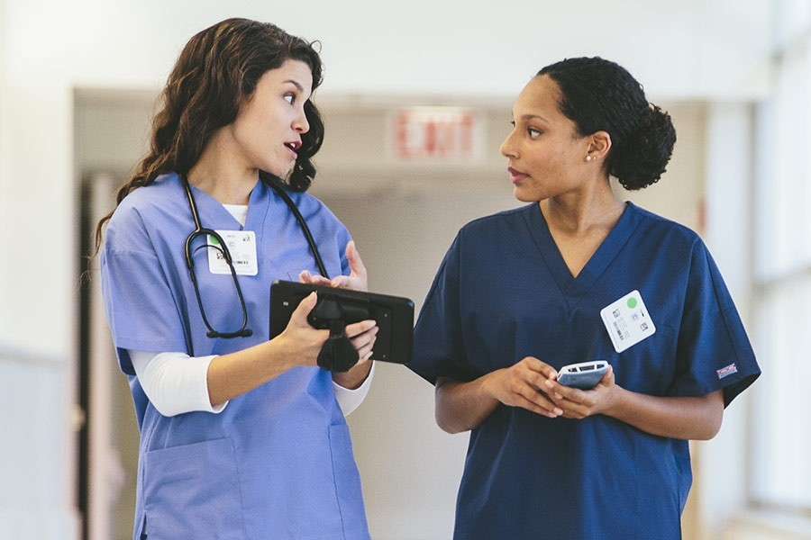 healthcare staff collaborating in hospital
