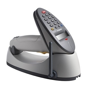 Zebra P470 discontinued scanner, shown in cradle