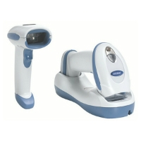 Zebra DS6878\u002DHC healthcare scanner, shown in and out of cradle