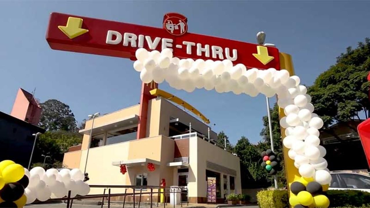 The front of a McDonald`s drive through restaurant.