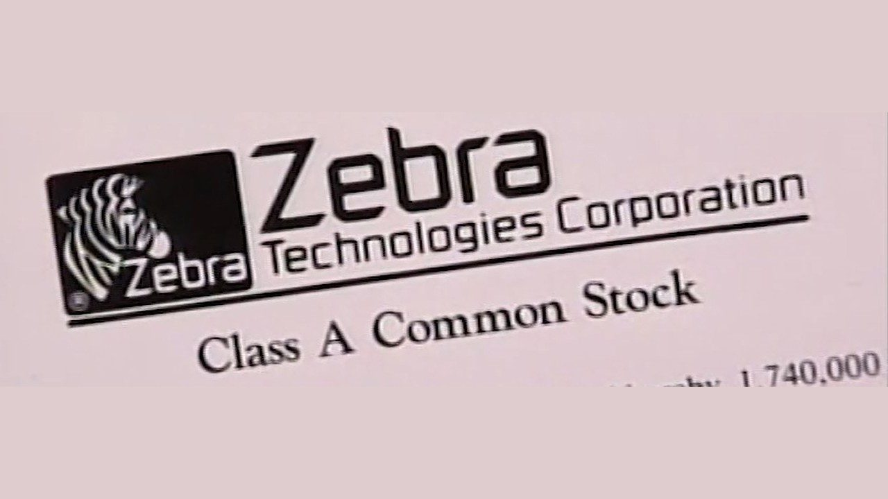 A picture of the document confirming Zebra's Initial Public Offering of Class A Common Stock on the U.S. stock exchange in 1991.