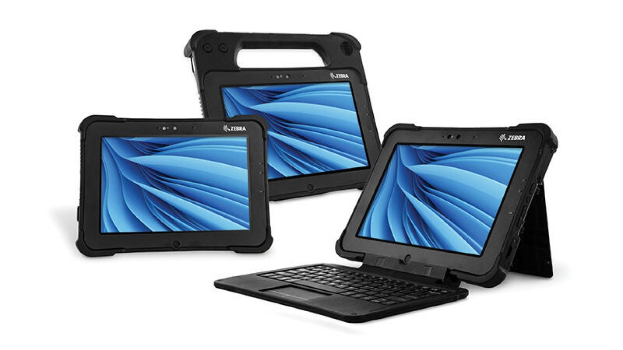 The Zebra XSLATE L10 rugged slate tablet, XPAD L10 rugged tablet with a top handle and XBOOK L10 2\u002Din\u002D1 rugged tablet