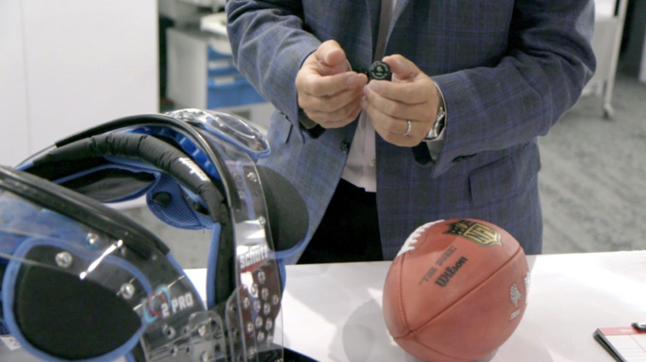 An up\u002Dclose look at the RFID sensors embedded in NFL players` helmets and footballs