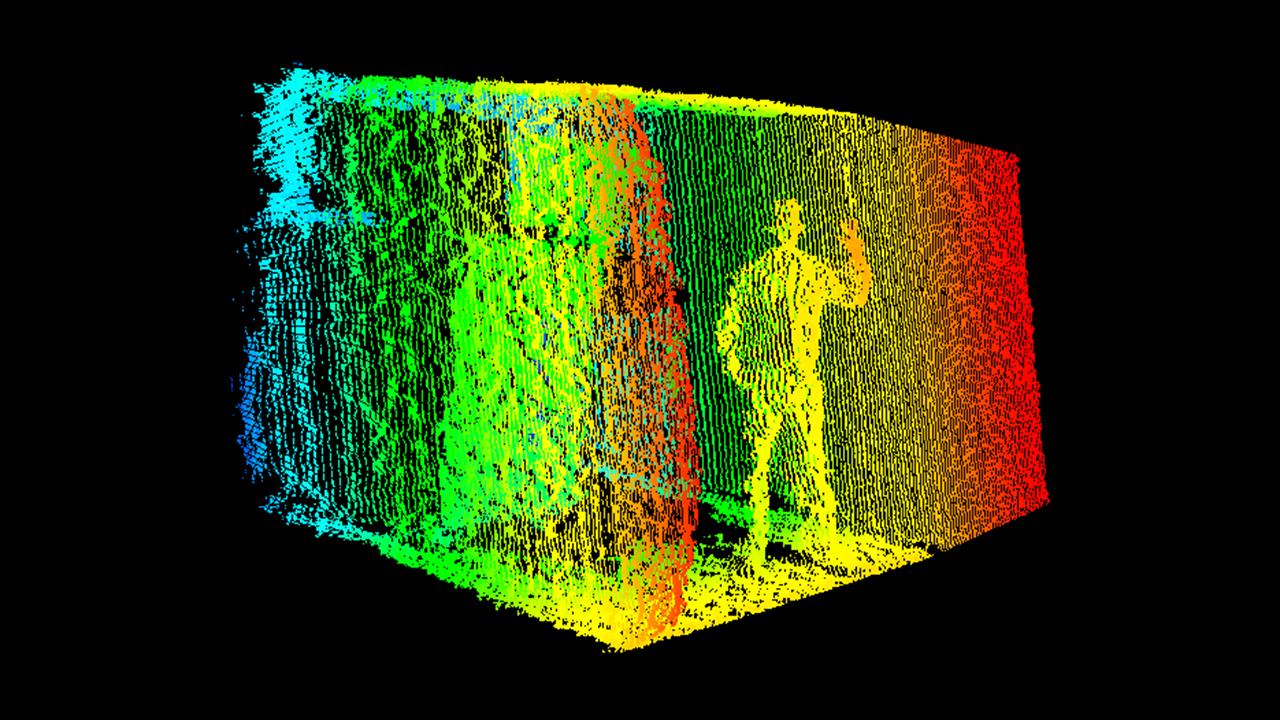 A picture of a man standing in a trailer captured using 3D sensor technology