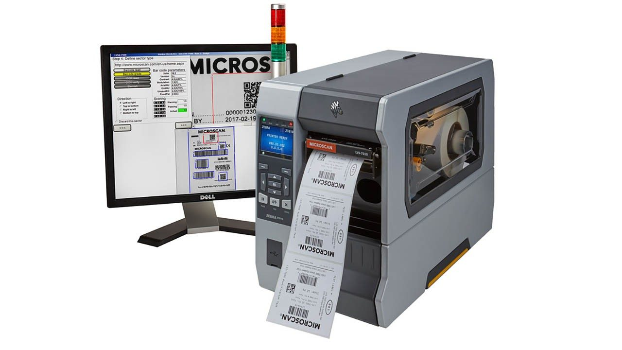 The Omron Microscan LVS\u002D7510 being deployed in the Zebra ZT610 Industrial Printer with supporting software.