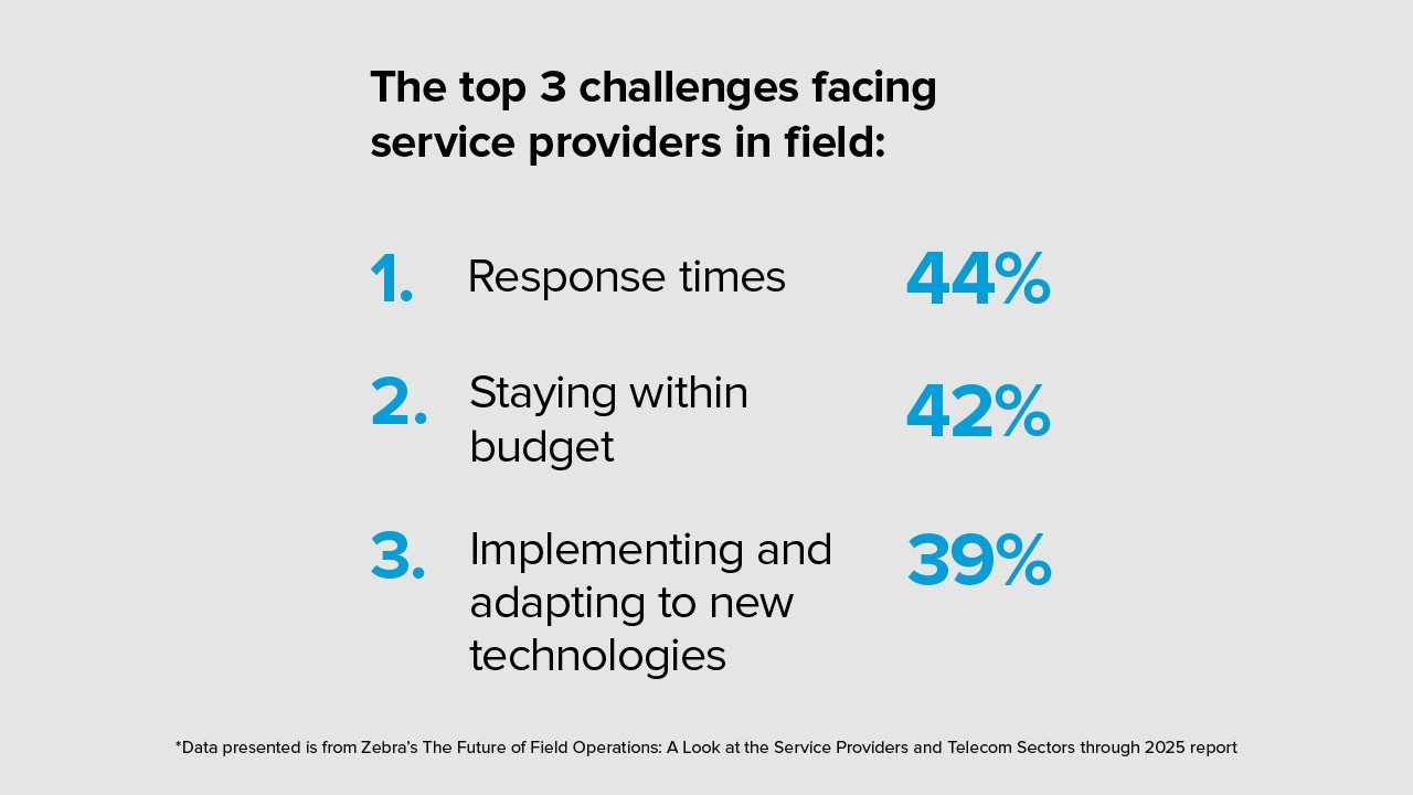 The top 3 challenges facing service providers in the field.