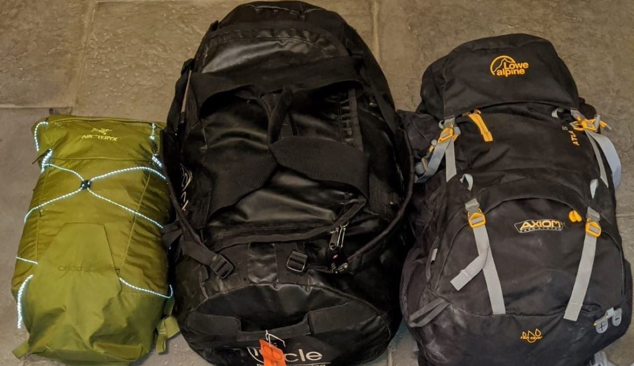 Packed hiking bags