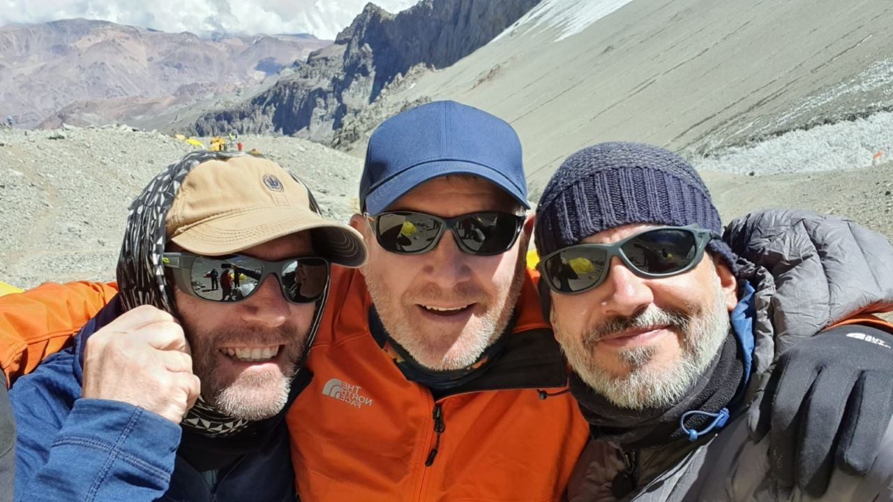 These three Zebras are attempting to summit Mount Aconcagua