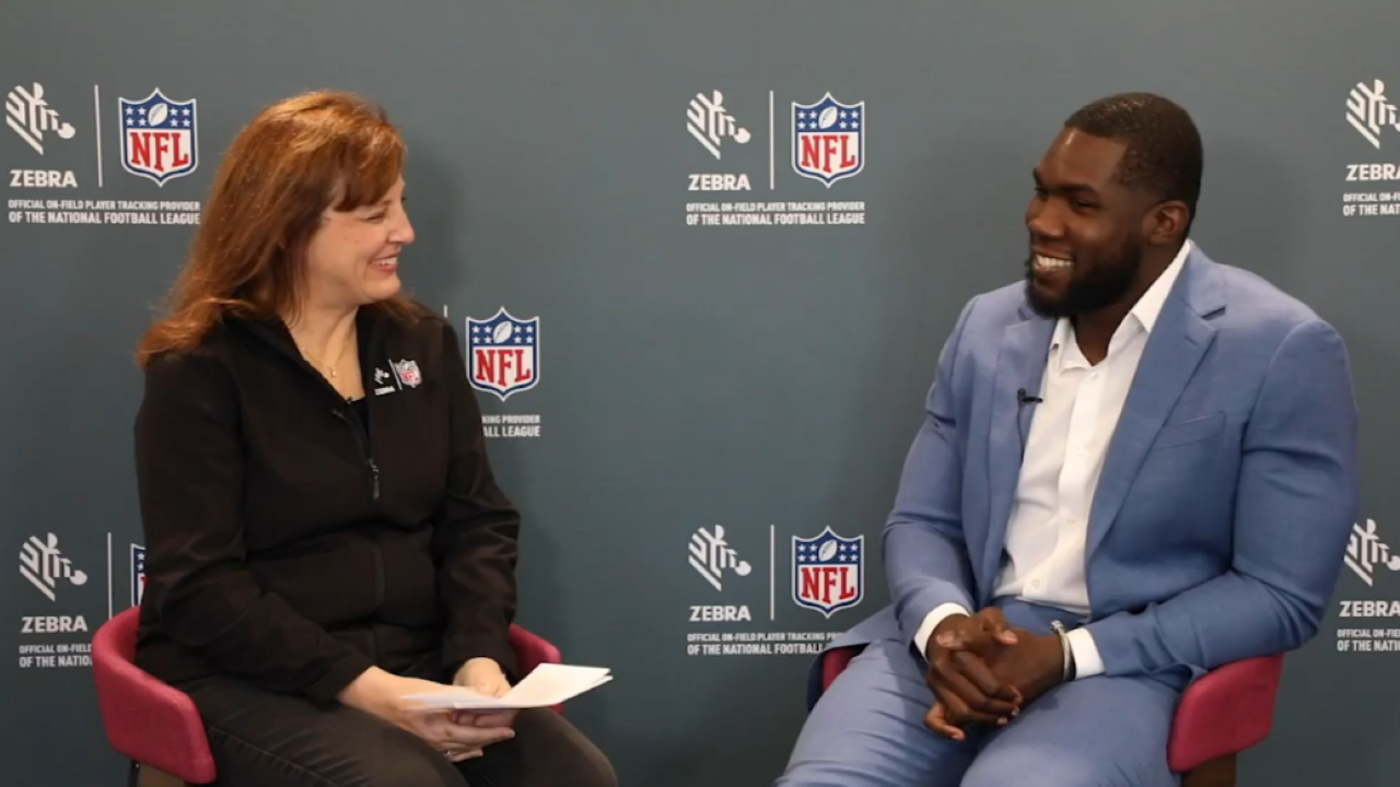 Therese Van Ryne speaks with NFL defensive lineman Eric Lee about his externship experience with Zebra